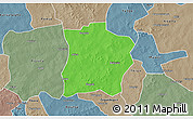 Political 3D Map of Tougouri, semi-desaturated