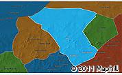 Political 3D Map of Deou, darken