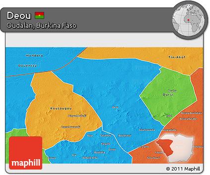 Political 3D Map of Deou