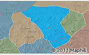 Political 3D Map of Deou, semi-desaturated