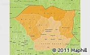 Political Shades Map of Oudalan, physical outside