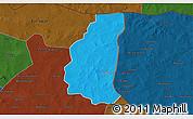 Political 3D Map of Markoye, darken