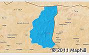 Political 3D Map of Markoye, satellite outside