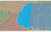 Political 3D Map of Markoye, semi-desaturated