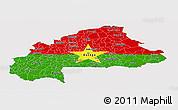 Flag Panoramic Map of Burkina Faso, flag centered