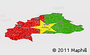 Flag Panoramic Map of Burkina Faso, flag aligned to the middle