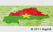 Flag Panoramic Map of Burkina Faso, physical outside