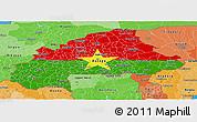 Flag Panoramic Map of Burkina Faso, political shades outside