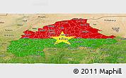 Flag Panoramic Map of Burkina Faso, satellite outside