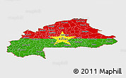 Flag Panoramic Map of Burkina Faso, single color outside, bathymetry sea