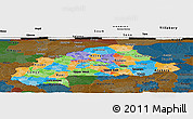 Political Panoramic Map of Burkina Faso, darken