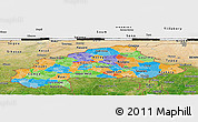 Political Panoramic Map of Burkina Faso, satellite outside, bathymetry sea