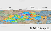 Political Panoramic Map of Burkina Faso, semi-desaturated