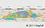 Political Panoramic Map of Burkina Faso, shaded relief outside, bathymetry sea