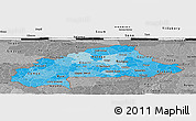 Political Shades Panoramic Map of Burkina Faso, desaturated