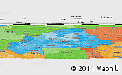 Political Shades Panoramic Map of Burkina Faso