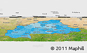 Political Shades Panoramic Map of Burkina Faso, satellite outside, bathymetry sea