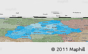 Political Shades Panoramic Map of Burkina Faso, semi-desaturated, land only