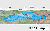 Political Shades Panoramic Map of Burkina Faso, semi-desaturated