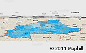 Political Shades Panoramic Map of Burkina Faso, shaded relief outside, bathymetry sea