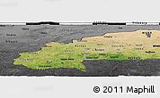 Satellite Panoramic Map of Burkina Faso, darken, desaturated, land only