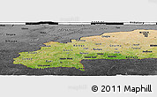 Satellite Panoramic Map of Burkina Faso, darken, desaturated