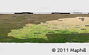 Satellite Panoramic Map of Burkina Faso, darken, land only
