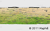 Satellite Panoramic Map of Burkina Faso, darken, semi-desaturated, land only