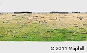 Satellite Panoramic Map of Burkina Faso, darken, semi-desaturated