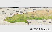 Satellite Panoramic Map of Burkina Faso, shaded relief outside