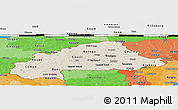 Shaded Relief Panoramic Map of Burkina Faso, political shades outside, shaded relief sea