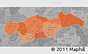 Political Shades 3D Map of Passore, desaturated