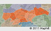 Political Shades 3D Map of Passore, semi-desaturated