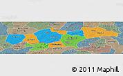 Political Panoramic Map of Passore, semi-desaturated