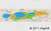 Political Panoramic Map of Passore, shaded relief outside