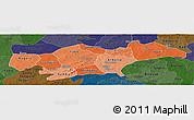 Political Shades Panoramic Map of Passore, darken
