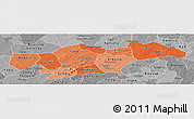Political Shades Panoramic Map of Passore, desaturated