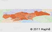 Political Shades Panoramic Map of Passore, lighten