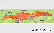 Political Shades Panoramic Map of Passore, physical outside