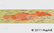 Political Shades Panoramic Map of Passore, satellite outside