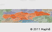 Political Shades Panoramic Map of Passore, semi-desaturated
