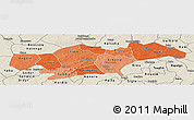 Political Shades Panoramic Map of Passore, shaded relief outside