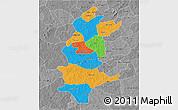 Political 3D Map of Sanguie, desaturated