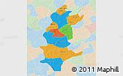 Political 3D Map of Sanguie, lighten
