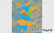 Political 3D Map of Sanguie, semi-desaturated