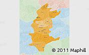 Political Shades 3D Map of Sanguie, lighten