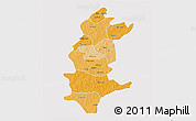 Political Shades 3D Map of Sanguie, single color outside