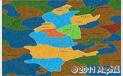 Political Panoramic Map of Sanguie, darken