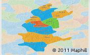 Political Panoramic Map of Sanguie, lighten