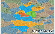 Political Panoramic Map of Sanguie, semi-desaturated